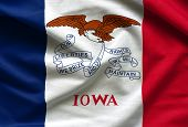 Fabric Texture Of The Iowa Flag Background - Flags From The Usa poster