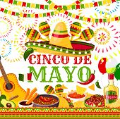 Cinco De Mayo Greeting Card For Mexican Holiday Or Fiesta Party Celebration Of Jalapeno Pepper, Somb poster