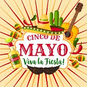 Cinco De Mayo Mexican Holiday Greeting Poster. Fiesta Party Sombrero, Maracas, Chili And Jalapeno Pe poster