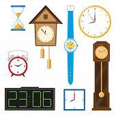 Постер, плакат: Vector Flat Types Of Clocks Set Digital Wall Mounted Clock Hourglass Sandglass Table Clock Alar