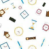Постер, плакат: Vector Flat Types Of Clocks Seamless Pattern Digital Wall Mounted Clock Hourglass Sandglass Tabl