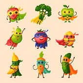 Superhero Fruits Vector Fruity Cartoon Character Of Super Hero Expression Vegetables With Funny Appl poster