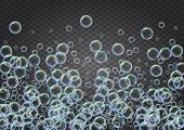 Shampoo Bubbles On Gradient Background. Realistic Water Bubbles 3d. Cool Liquid Foam With Shampoo Bu poster