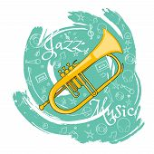 Trumpet. Wind Musical Instrument. Jazz Instruments, On An Abstract Green Background. With Additional poster