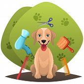 Dog Getting Groomed At Pet Grooming Salon.animal Grooming Salon Illustraion.pet Shop Concept. poster