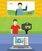 Video Blog Channel Banner Concept Set. Flat Illustration Of 3 Video Blog Channel Vector Banner Horiz poster