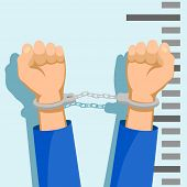 Man In Handcuffs. Detention Of Of The Criminal. Stock Vector Cartoon Illustration. poster