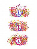 Colorful t shirt prints collection with hippie peace symbol, flying dove with olive branch, abstract poster