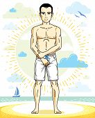 Handsome Man Adult Standing On Tropical Beach In Bright Shorts. Vector Nice And Sporty Man Illustrat poster