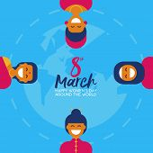 Ethnic Woman Group For Happy Womens Day Card poster