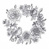 Vintage Frame With Flowers And A Bird. Print Black On A White Background. Roses And Peonies In Orien poster