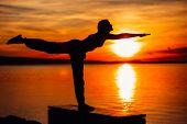 Carefree Woman Meditating In Nature.finding Inner Peace.yoga Practice.spiritual Healing Lifestyle.en poster