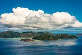 Aerial View Of Praslin Island Coastline, Seychelles poster