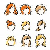 Collection Of Women Faces, Human Heads. Diverse Vector Characters Like Red-haired And Blonde Females poster