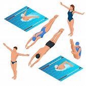 Постер, плакат: Isometric Swimming Pool Swimmers Human Characters Vector Illustration Sportsmen Of Various Types O