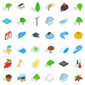 Natural Land Icons Set. Isometric Set Of 36 Natural Land Vector Icons For Web Isolated On White Back poster