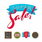 Super Sale Extra Bonus Banners Text In Color Drawn Labels Business Concept Vector. Internet Promotio poster