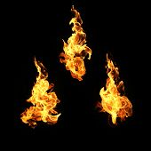 Fire Flames Collection Isolated On Black Background poster