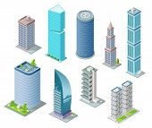 Isometric 3d Buildings And City Skyscrapers Vector Illustration For Architecture Construction Design poster