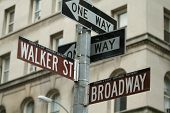 stock photo of street-walker  - Crossing street signs showing Walker Street and Boradway - JPG
