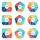 Square Pentagon And Hexagon Infographic (part Four, Part Five And Part Six) Vector Set Design poster