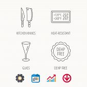 Kitchen Knives, Glass And Heat-resistant Icons. Dehp Free Linear Sign. Calendar, Graph Chart And Cog poster