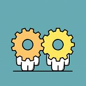 Funny Cute Men With Gear Wheels Or Pinions Instead Of The Heads. Business Partnership, Teamwork, Coo poster