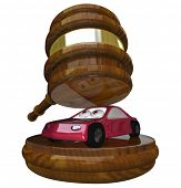 A red 3d illustration of a car under a gavel symbolizing someone who has gone bankrupt or fallen beh