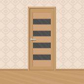 Cartoon Brown Wooden New Door With Doors Glass Frames In A Room. Home Interior. Vector Illustration poster