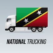 Symbol Of National Delivery Truck With Flag Of Federation Of Saint Kitts And Nevis. National Truckin poster