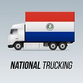 Symbol Of National Delivery Truck With Flag Of Paraguay. National Trucking Icon And Paraguayan Flag poster