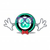 Geek Ethos Coin Character Cartoon Vector Illustration poster