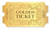 Gold Ticket, Golden Token (tear-off Ticket, Coupon) Isolated On White Background. Useful For Any Fes poster