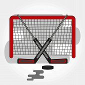 Hockey Gates With Crossed Sticks And Puck. Vector Hockey Symbol With Goalie Sticks, Gates And Puck.  poster