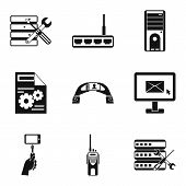 Pc Setting Icons Set. Simple Set Of 9 Pc Setting Vector Icons For Web Isolated On White Background poster