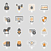 Internet Security Icon Sticker Set For Flyer, Poster, Web Site Like Hacker, Virus, Spam And Firewall poster