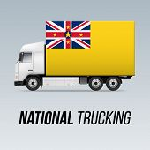 Symbol Of National Delivery Truck With Flag Of Niue. National Trucking Icon And Niuen Flag poster