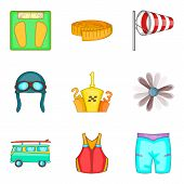 Physical Lifestyle Icons Set. Cartoon Set Of 9 Physical Lifestyle Vector Icons For Web Isolated On W poster