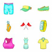 Physical Activity Icons Set. Cartoon Set Of 9 Physical Activity Vector Icons For Web Isolated On Whi poster