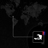 Постер, плакат: Haiti On Black World Map Map And Flag Of Haiti