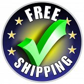 Free Shipping button/label - blue version