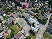 School Sports Stadium In Kaunas, Lithuania Aerial View poster