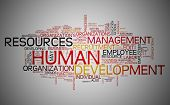 Human resources development concept in word tag cloud