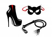 Fetish And Bondage Stuff For Role Playing And Bdsm: High Heels Shoes, Leather Whip And Cat Mask, Pla poster