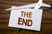 Hand Writing Text Caption Inspiration Showing The End. Business Concept For End Finish Close Written poster
