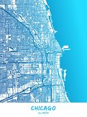 Chicago Downtown And Surroundings Map In Blue Shaded Version With Many Details. This Map Of Chicago  poster