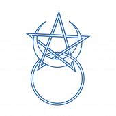 Vector Symbol For Wiccan And Occult Esoteric Community: Horned God Symbol With Pentacle. Could Be Al poster