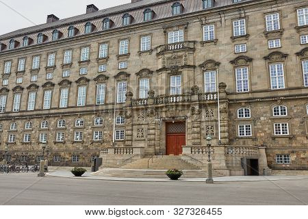 poster of Wide Angle View Of The Main Building And The Platz In Front Of Christiansborg Slot Copenhagen, Denma