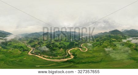 poster of 360 Panorama By 180 Degrees Angle Seamless Panorama View Of Paddy Rice Terraces, Green Agricultural