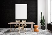 Black And White Dining Room With Poster poster